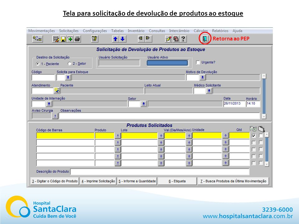 Tela para solicitação de devolução de produtos ao estoque