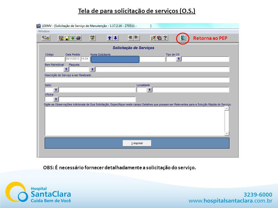 Tela de para solicitação de serviços (O.S.)