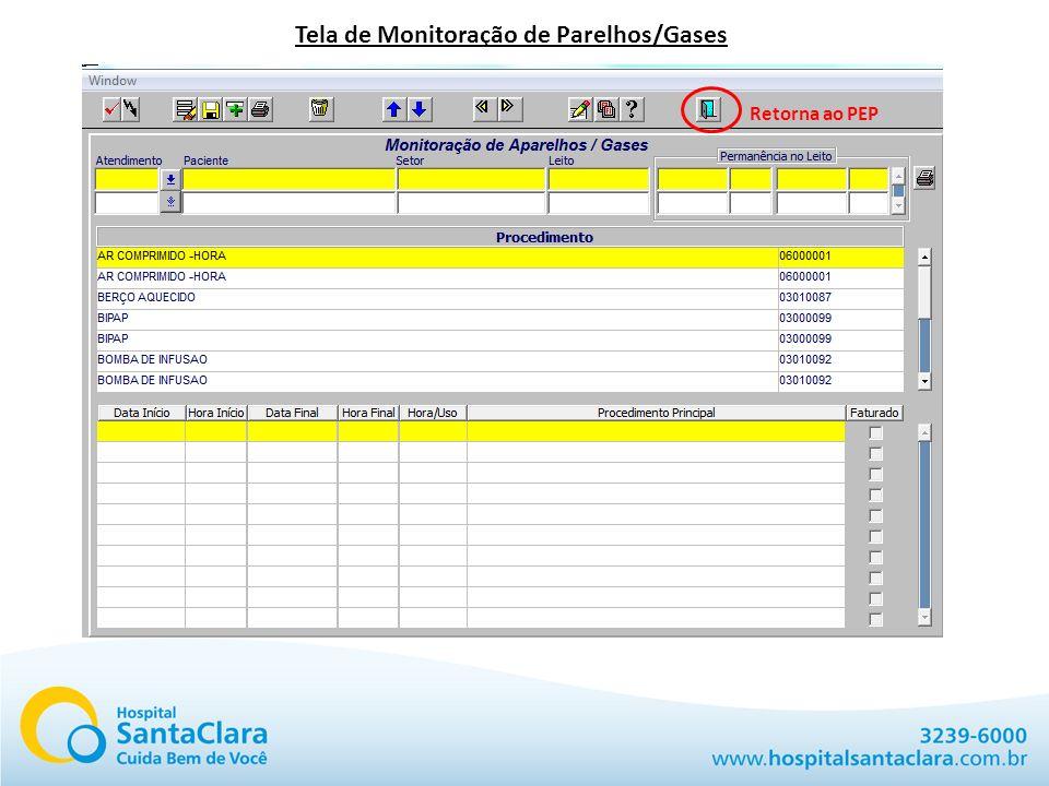Tela de Monitoração de Parelhos/Gases