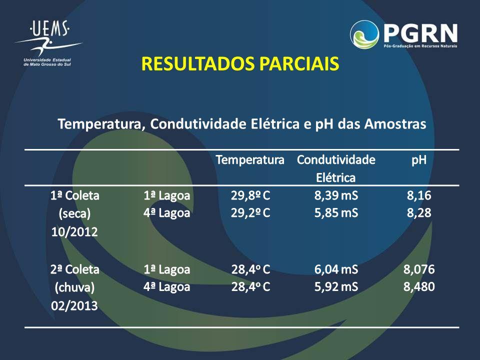 Temperatura, Condutividade Elétrica e pH das Amostras