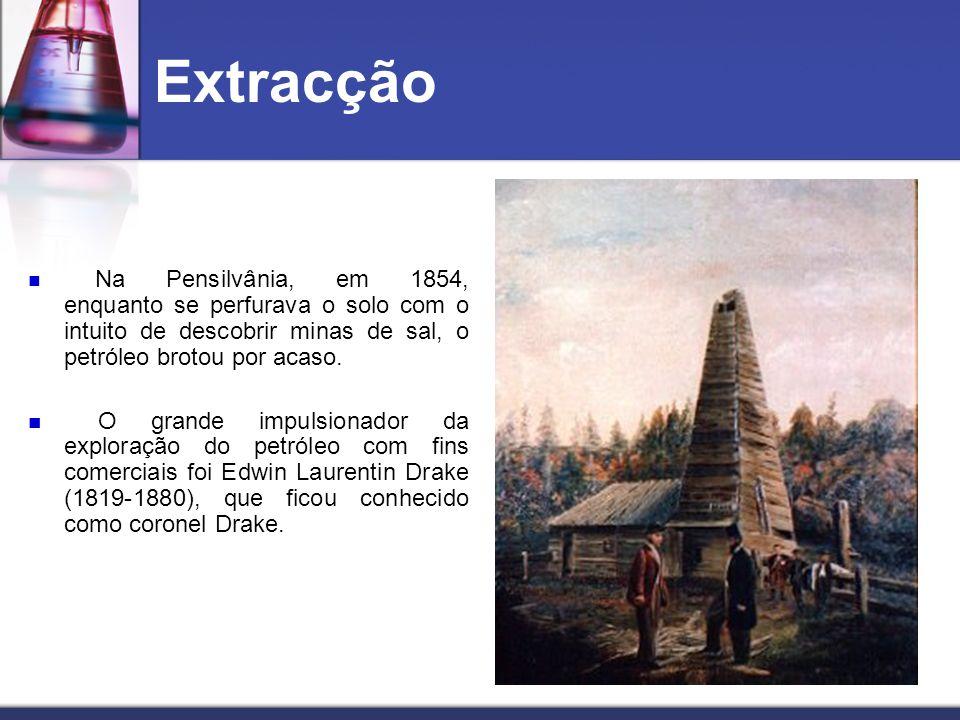 Extracção Na Pensilvânia, em 1854, enquanto se perfurava o solo com o intuito de descobrir minas de sal, o petróleo brotou por acaso.