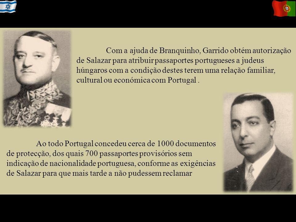 Com a ajuda de Branquinho, Garrido obtém autorização de Salazar para atribuir passaportes portugueses a judeus húngaros com a condição destes terem uma relação familiar, cultural ou económica com Portugal .