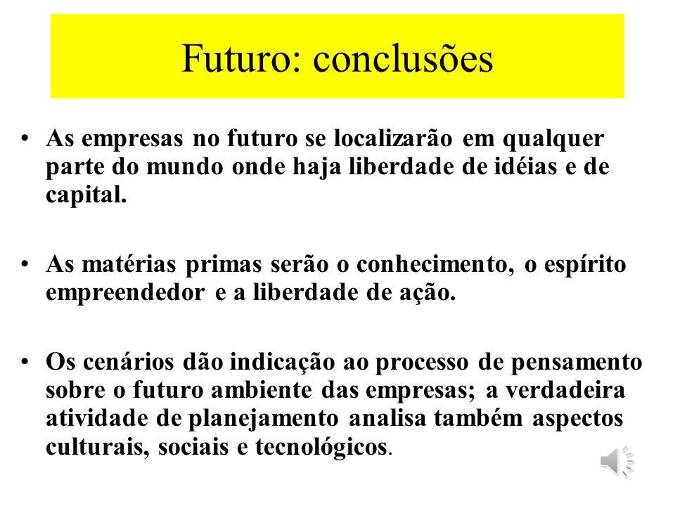 Futuro: conclusões As empresas no futuro se localizarão em qualquer parte do mundo onde haja liberdade de idéias e de capital.