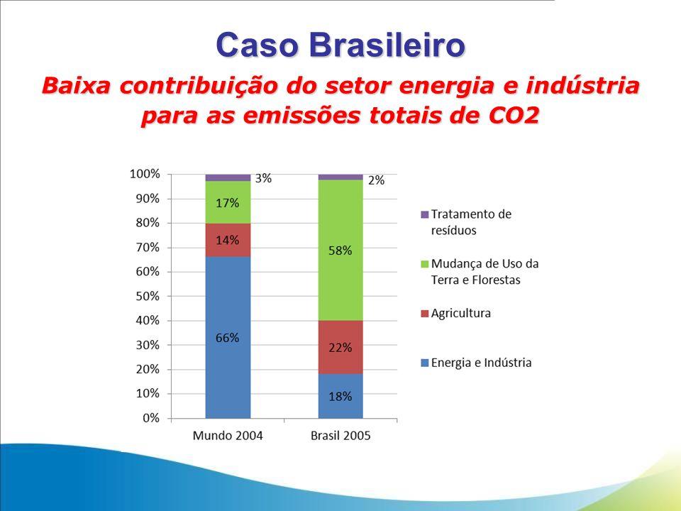 Caso Brasileiro Baixa contribuição do setor energia e indústria