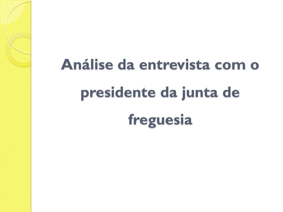 Análise da entrevista com o presidente da junta de freguesia