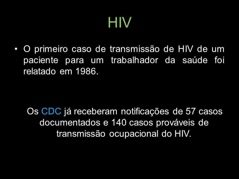 HIV O primeiro caso de transmissão de HIV de um paciente para um trabalhador da saúde foi relatado em 1986.