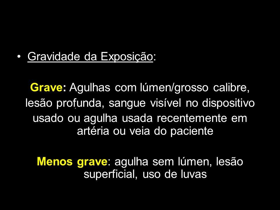 Gravidade da Exposição: Grave: Agulhas com lúmen/grosso calibre,