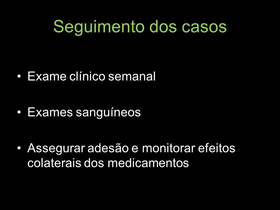 Seguimento dos casos Exame clínico semanal Exames sanguíneos