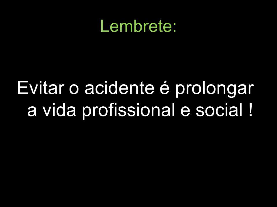 Evitar o acidente é prolongar a vida profissional e social !