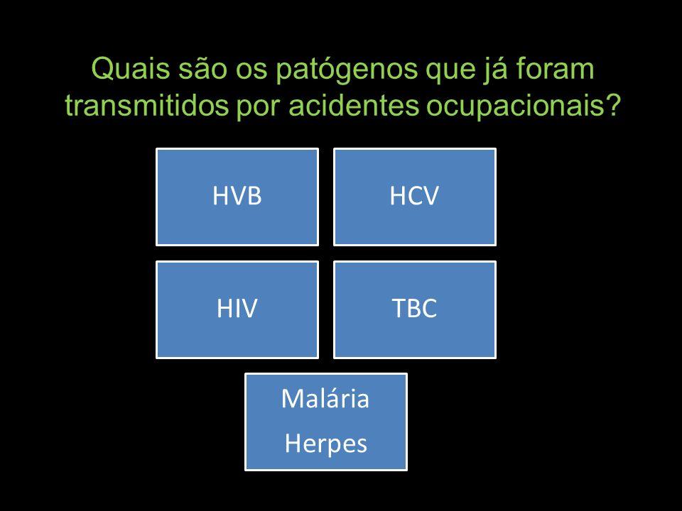 Quais são os patógenos que já foram transmitidos por acidentes ocupacionais