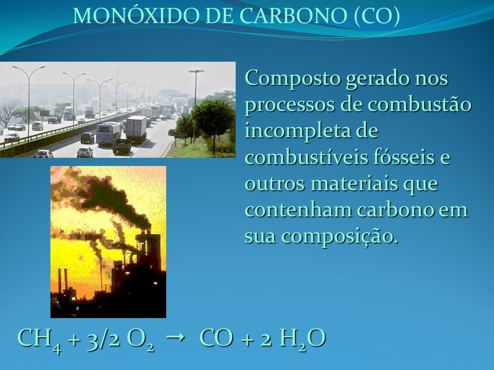 CH4 + 3/2 O2  CO + 2 H2O MONÓXIDO DE CARBONO (CO)