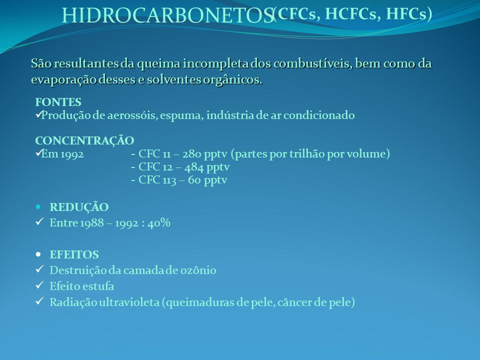 HIDROCARBONETOS (CFCs, HCFCs, HFCs)