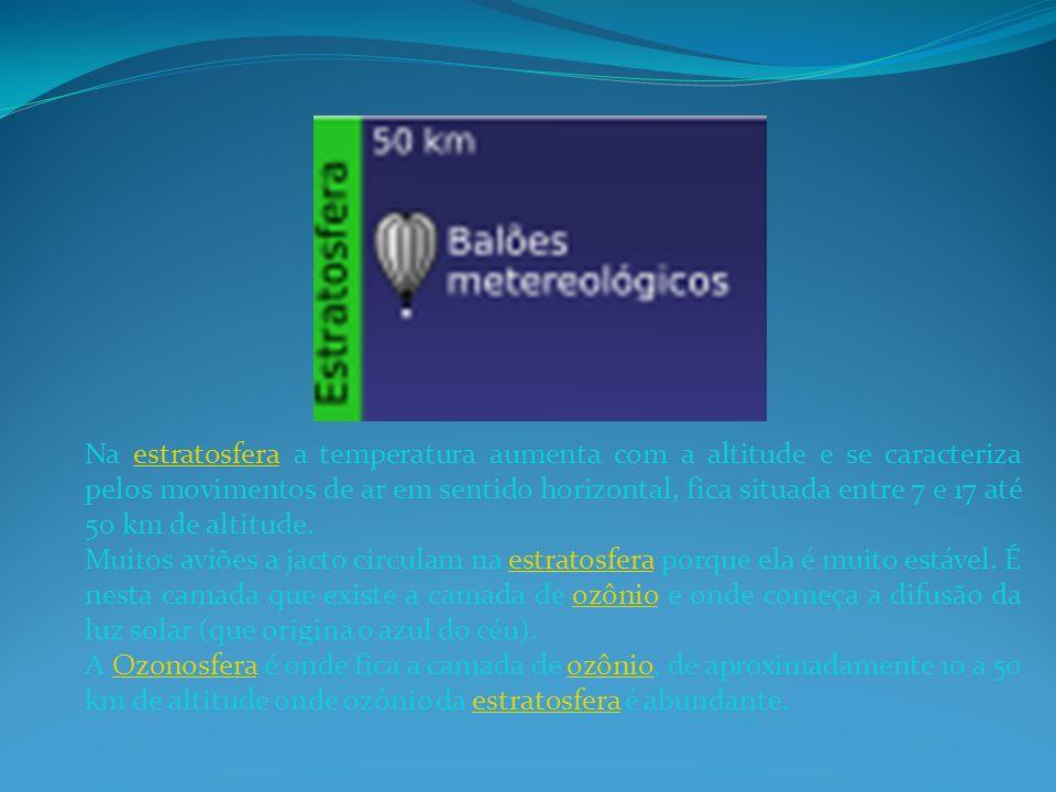 Na estratosfera a temperatura aumenta com a altitude e se caracteriza pelos movimentos de ar em sentido horizontal, fica situada entre 7 e 17 até 50 km de altitude.