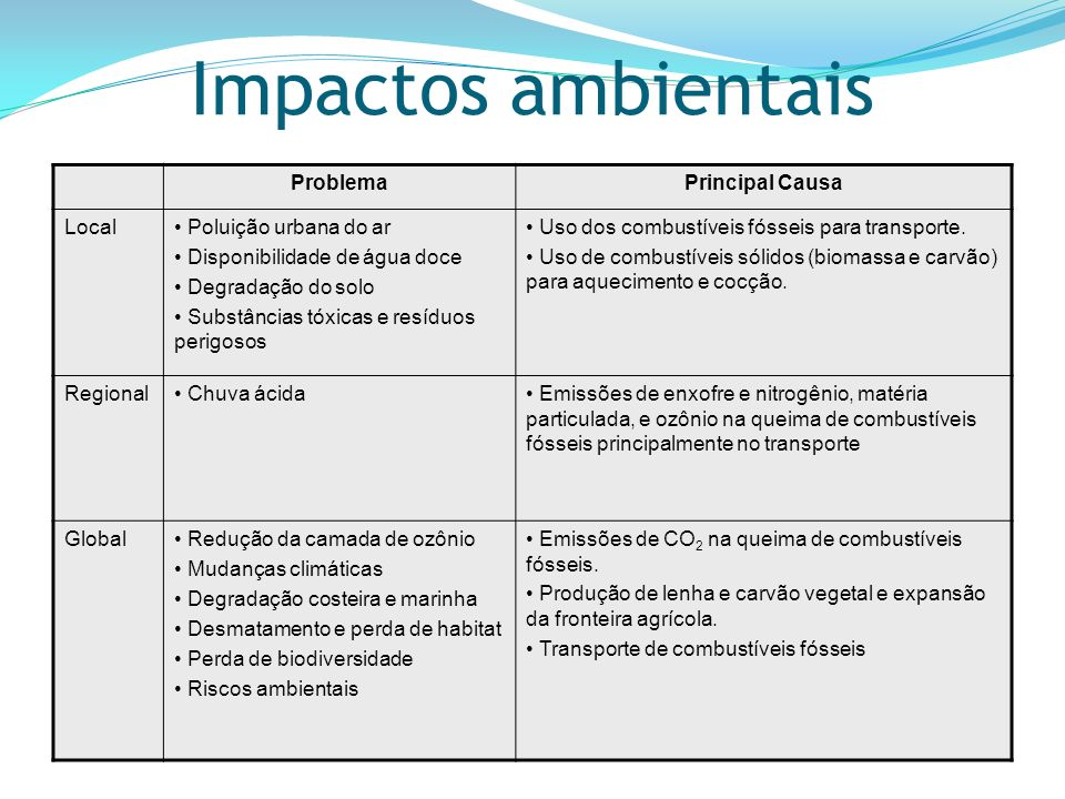 Impactos ambientais Problema Principal Causa Local
