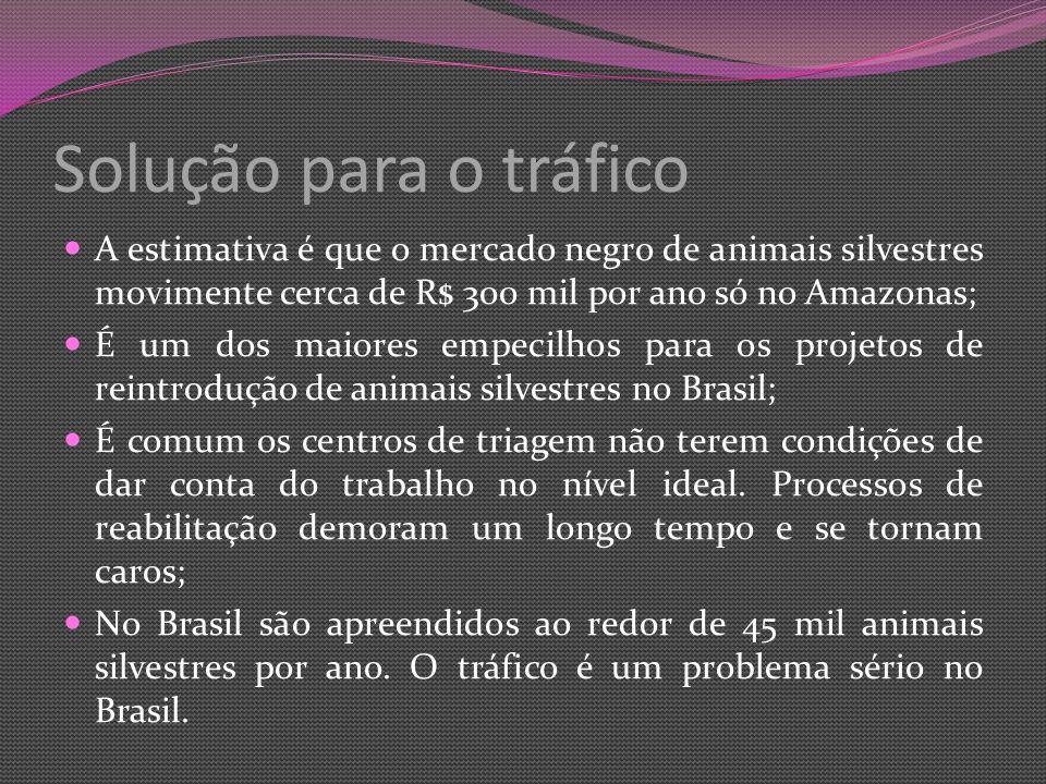 Solução para o tráfico A estimativa é que o mercado negro de animais silvestres movimente cerca de R$ 300 mil por ano só no Amazonas;