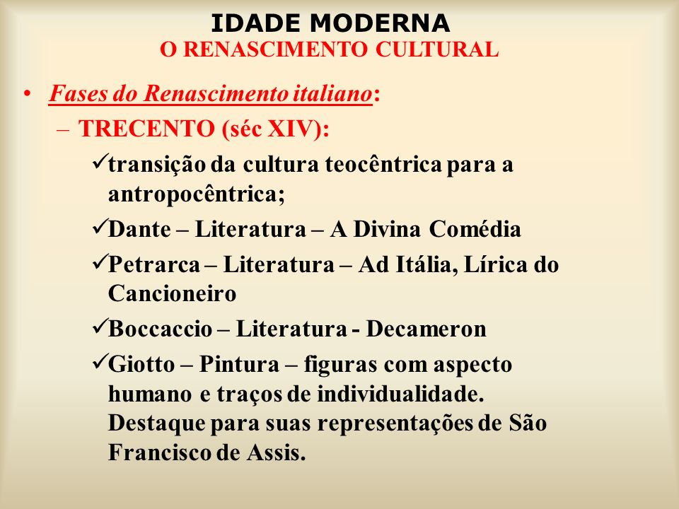 Fases do Renascimento italiano: