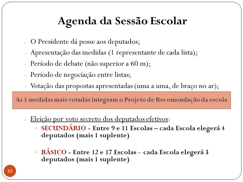 Agenda da Sessão Escolar