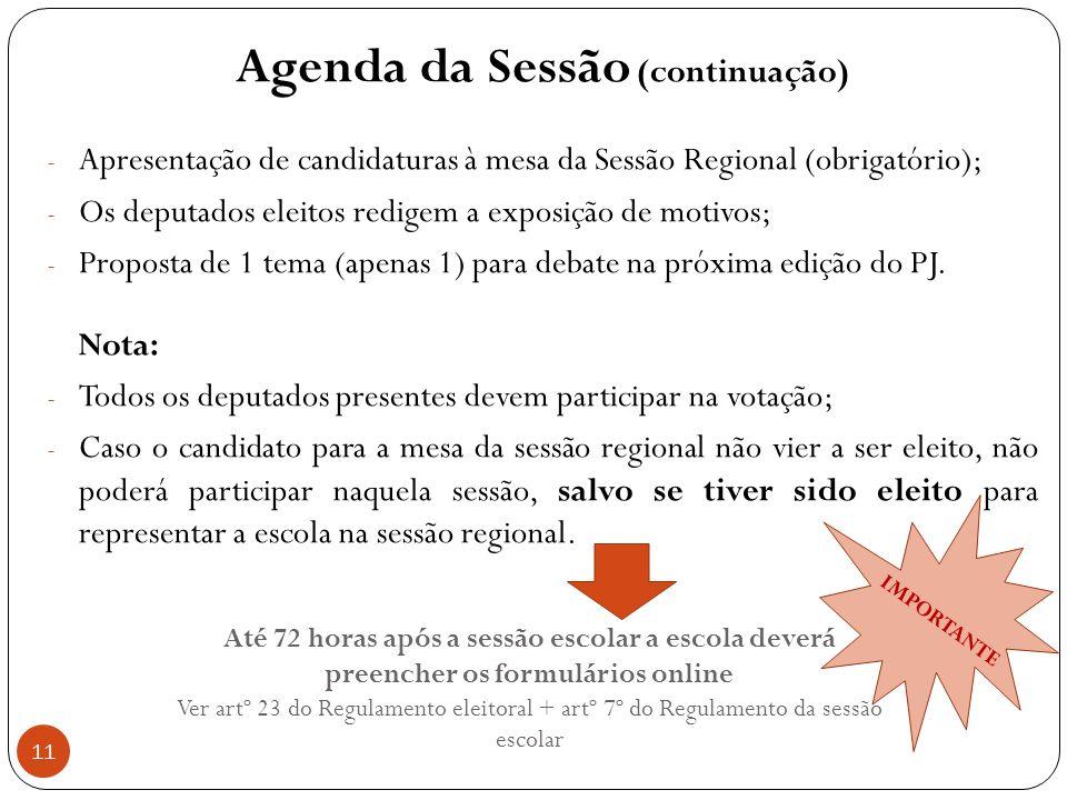 Agenda da Sessão (continuação)