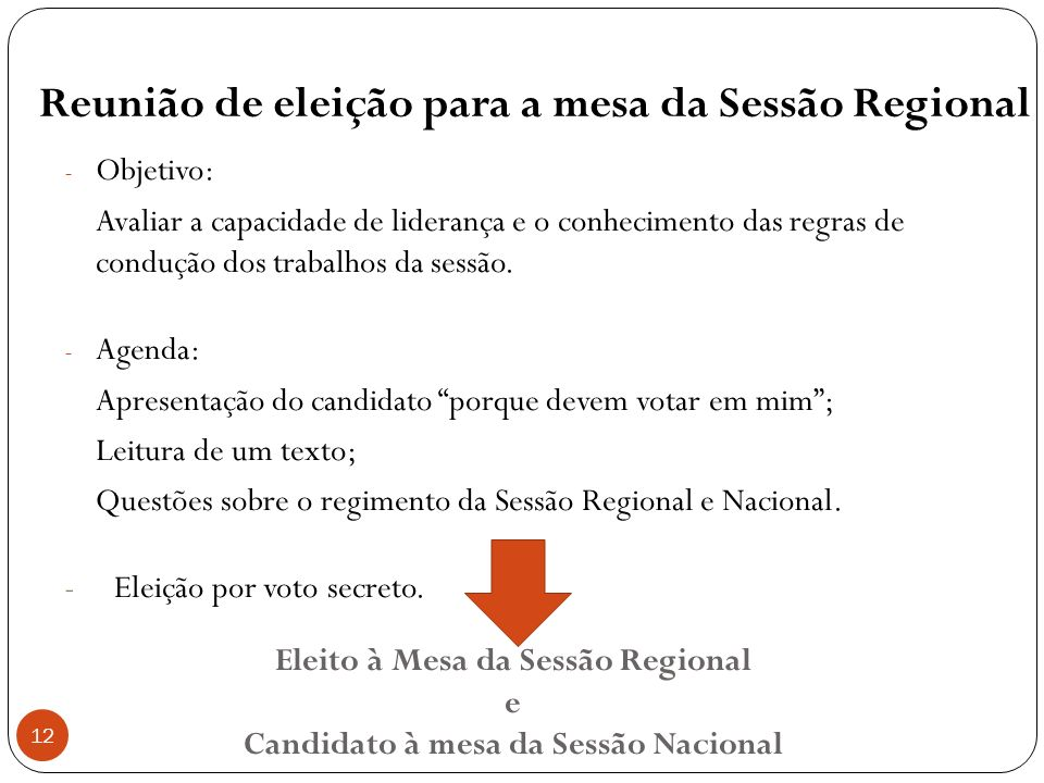 Reunião de eleição para a mesa da Sessão Regional