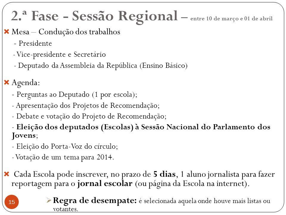 2.ª Fase - Sessão Regional – entre 10 de março e 01 de abril