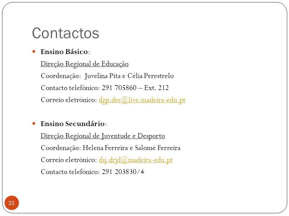 Contactos Ensino Básico: Direção Regional de Educação