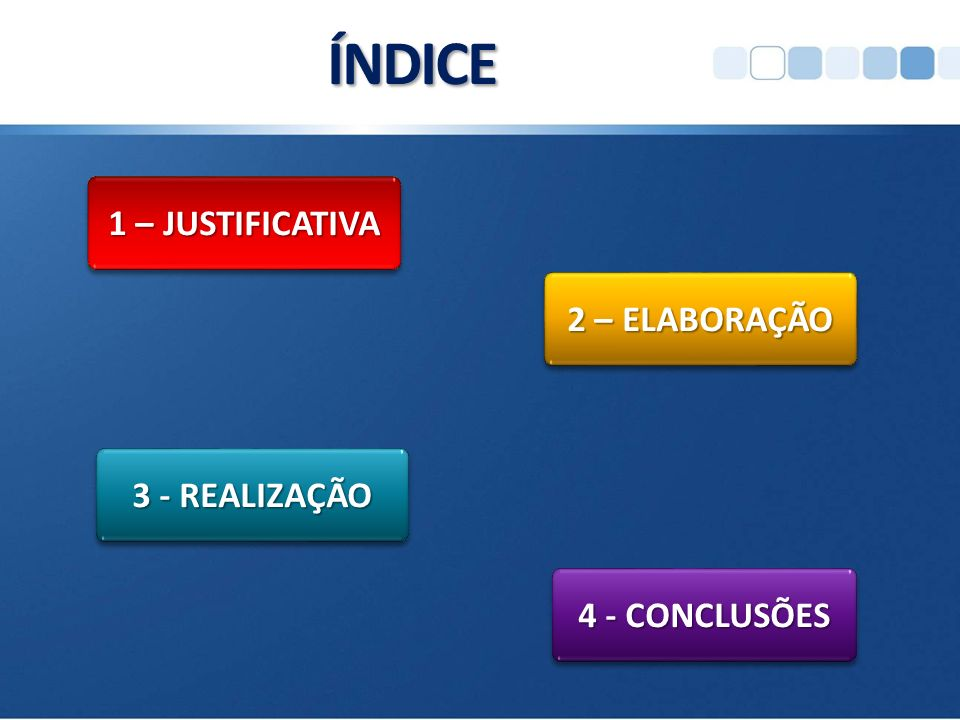 ÍNDICE 1 – JUSTIFICATIVA 2 – ELABORAÇÃO 3 - REALIZAÇÃO 4 - CONCLUSÕES