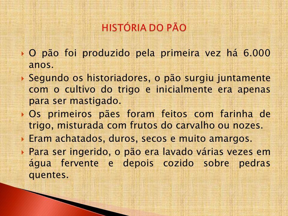 HISTÓRIA DO PÃO O pão foi produzido pela primeira vez há 6.000 anos.