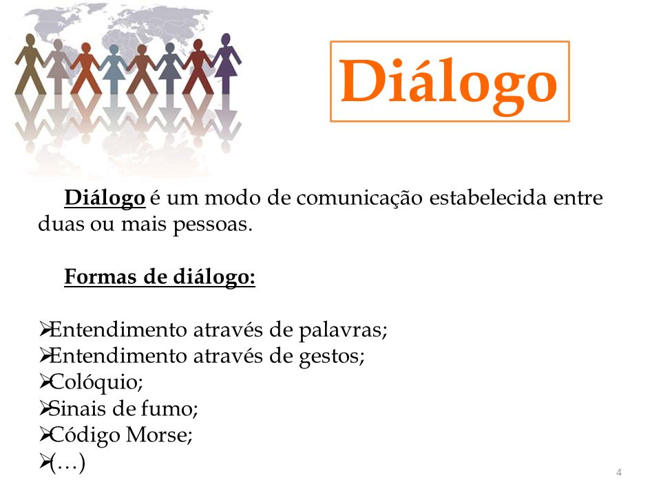 Diálogo Formas de diálogo: Entendimento através de palavras;