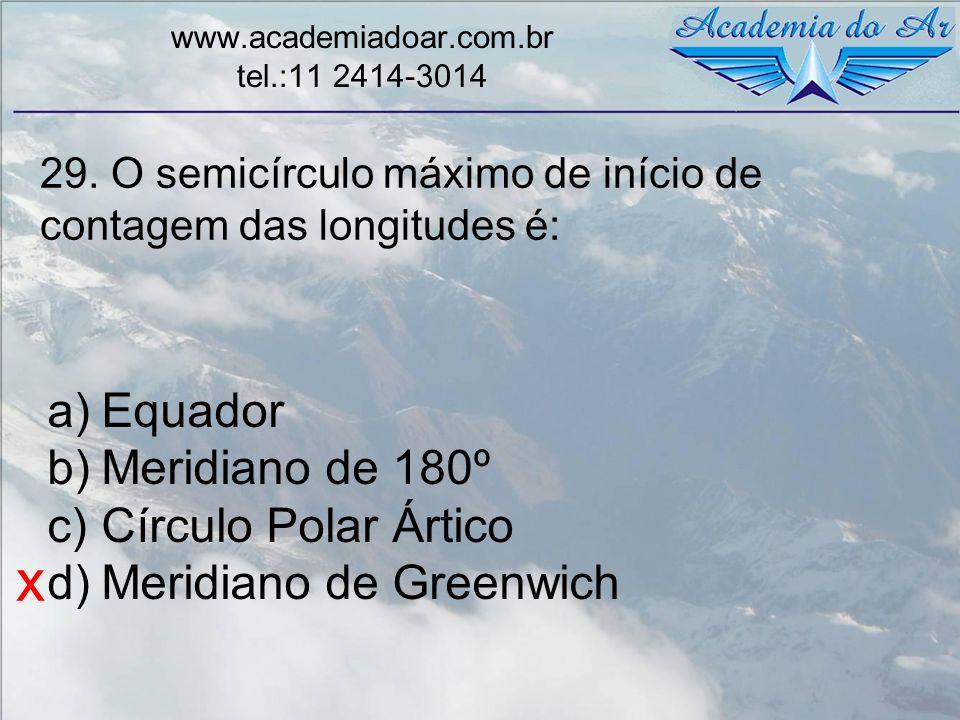 29. O semicírculo máximo de início de contagem das longitudes é: