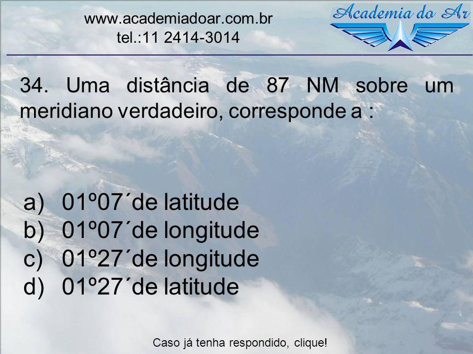 01º07´de latitude 01º07´de longitude 01º27´de longitude