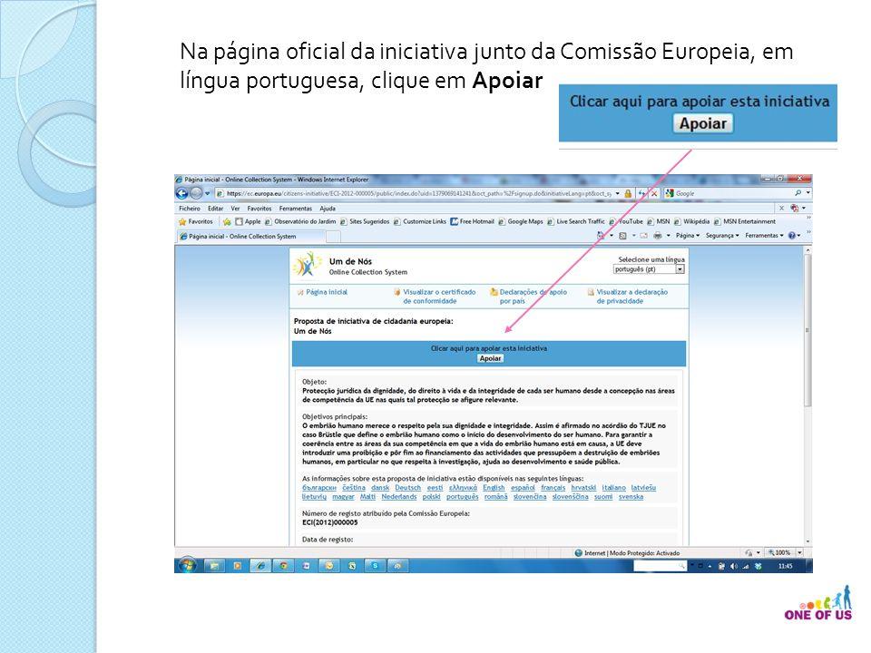 Na página oficial da iniciativa junto da Comissão Europeia, em língua portuguesa, clique em Apoiar