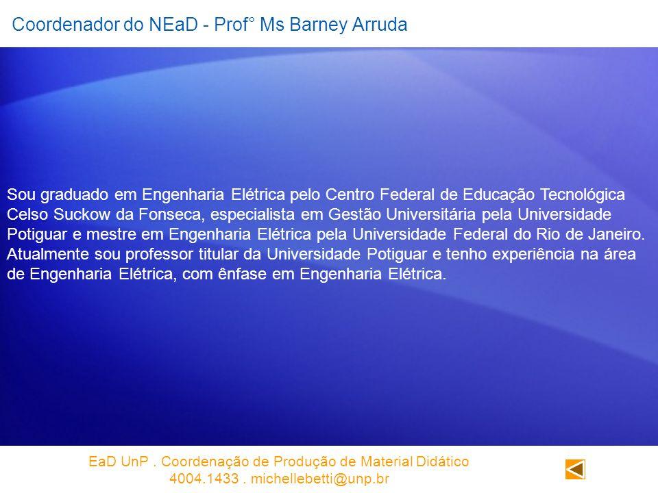Coordenador do NEaD - Prof° Ms Barney Arruda