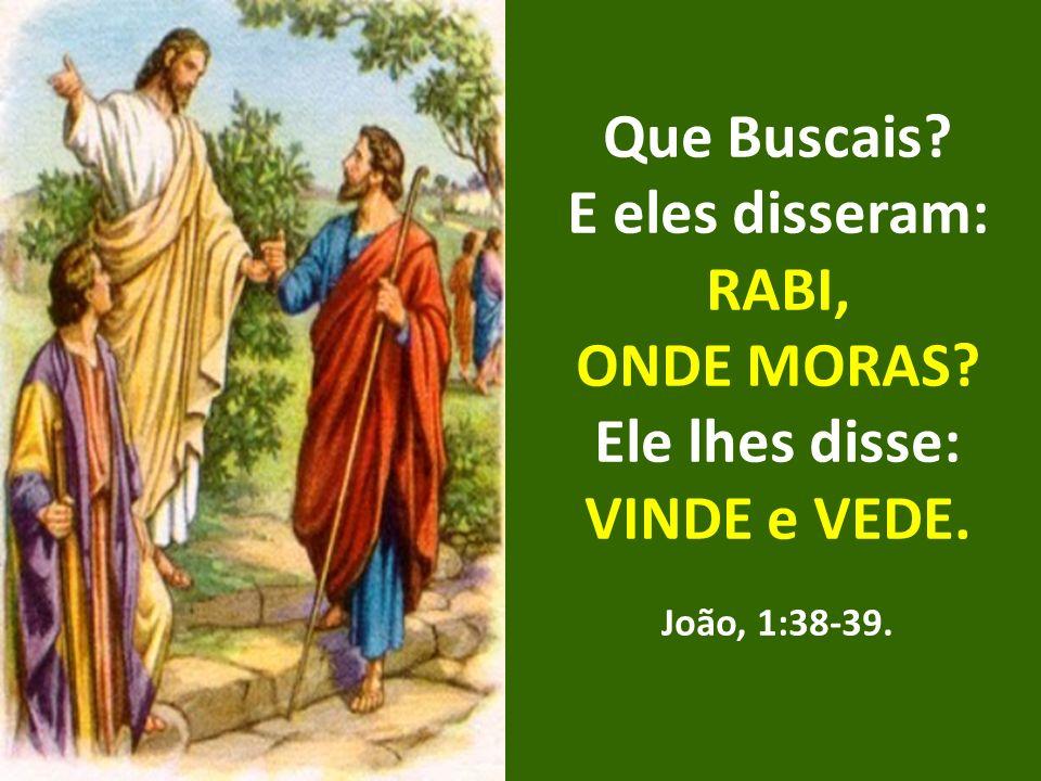 Que Buscais E eles disseram: RABI, ONDE MORAS Ele lhes disse:
