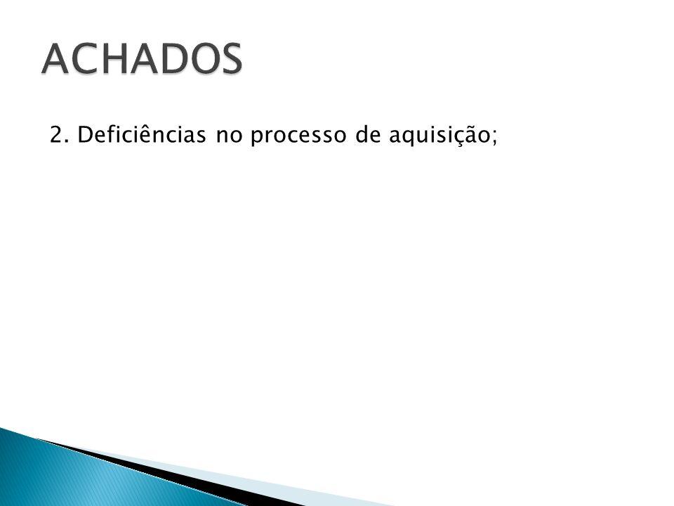 ACHADOS 2. Deficiências no processo de aquisição;
