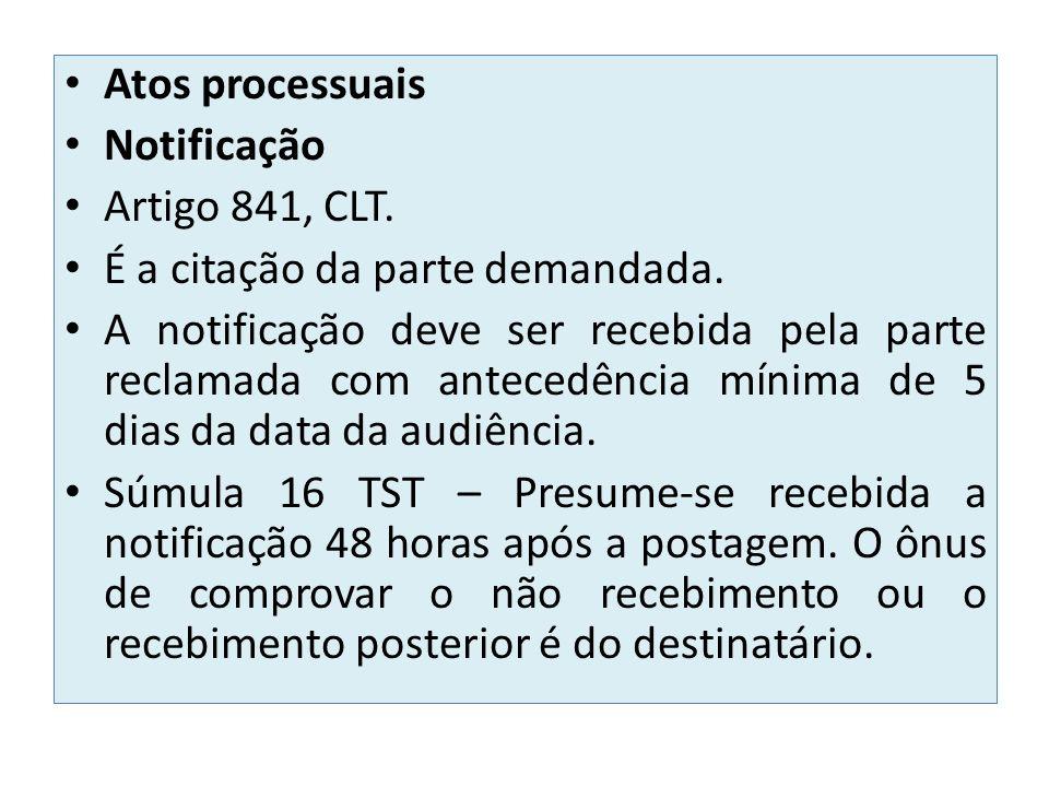 Atos processuais Notificação. Artigo 841, CLT. É a citação da parte demandada.