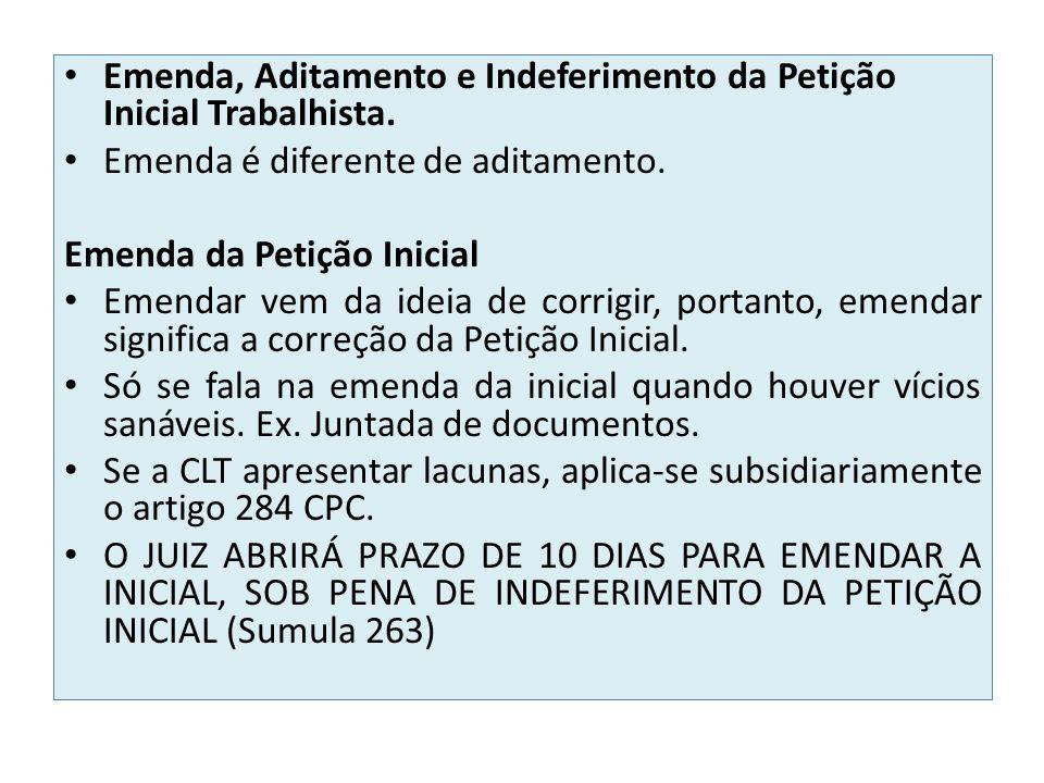 Emenda, Aditamento e Indeferimento da Petição Inicial Trabalhista.