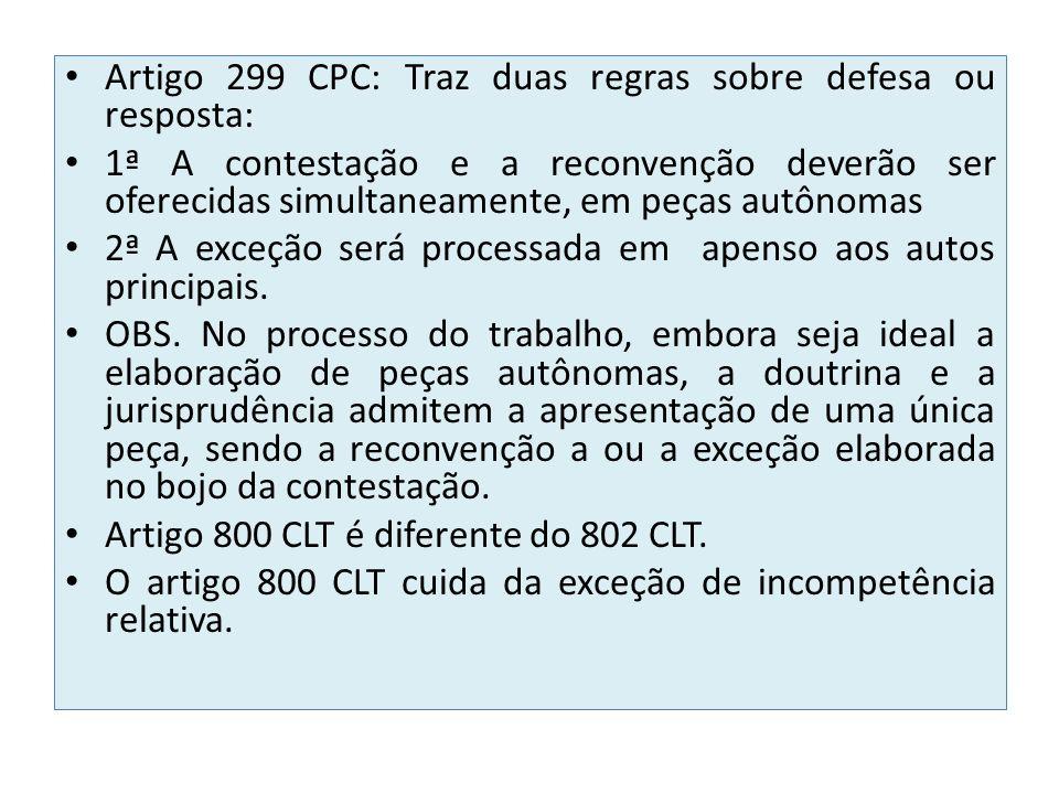 Artigo 299 CPC: Traz duas regras sobre defesa ou resposta: