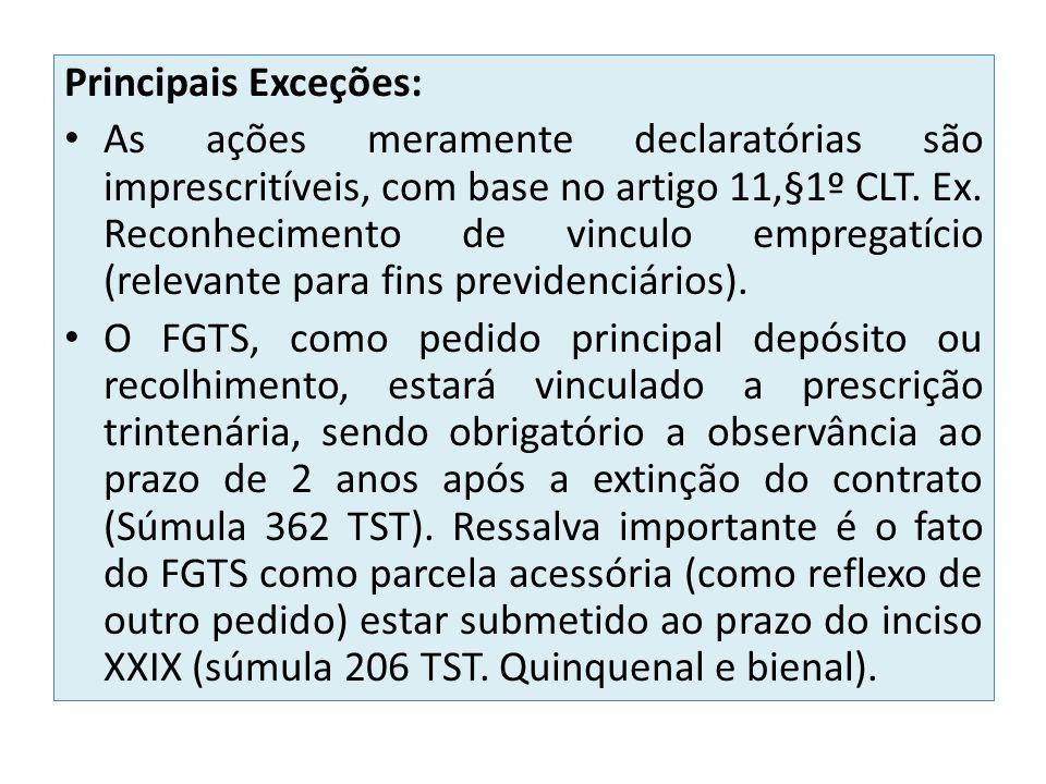 Principais Exceções: