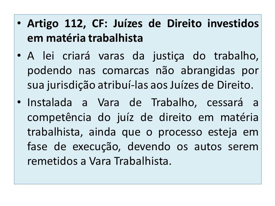 Artigo 112, CF: Juízes de Direito investidos em matéria trabalhista