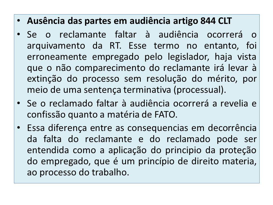 Ausência das partes em audiência artigo 844 CLT