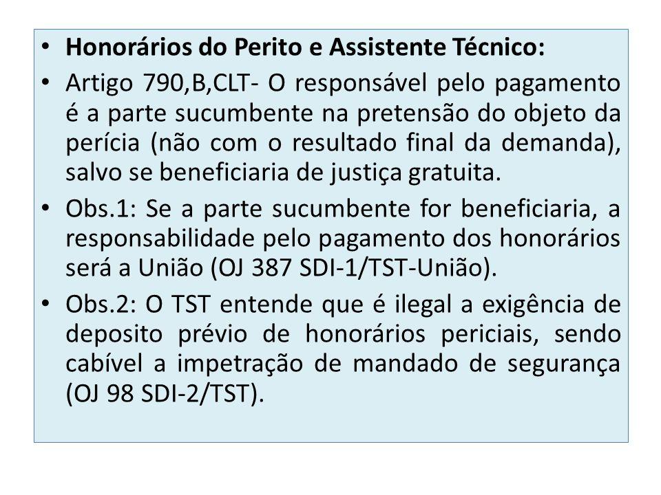 Honorários do Perito e Assistente Técnico: