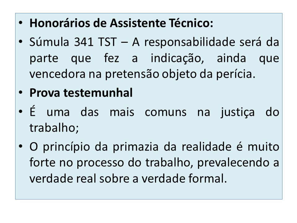 Honorários de Assistente Técnico: