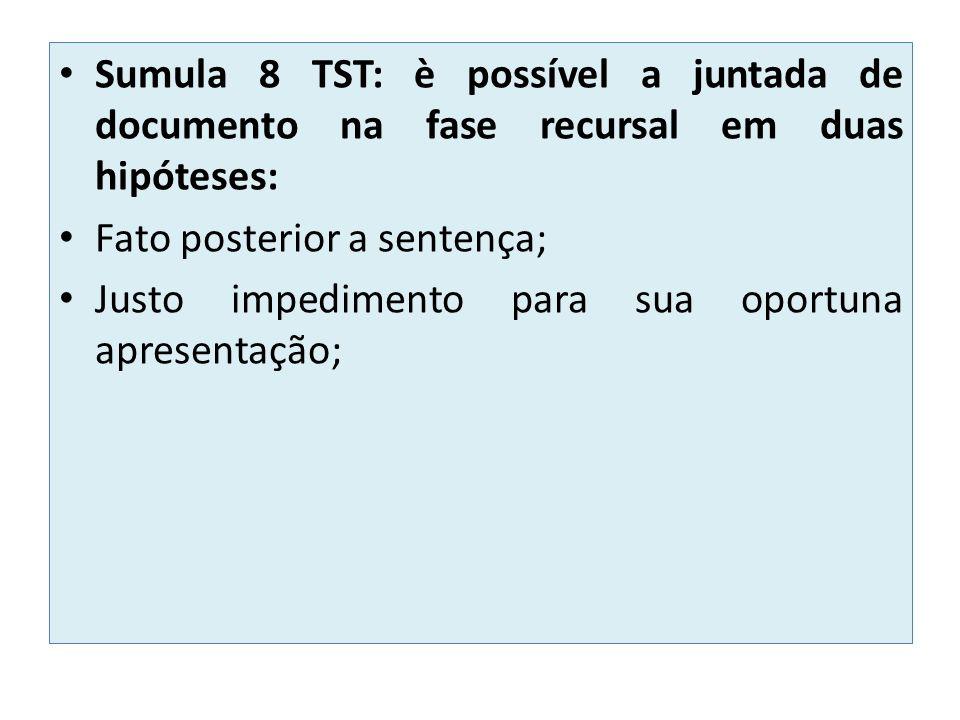 Sumula 8 TST: è possível a juntada de documento na fase recursal em duas hipóteses: