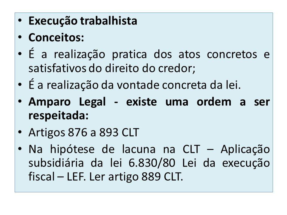 Execução trabalhista Conceitos: É a realização pratica dos atos concretos e satisfativos do direito do credor;