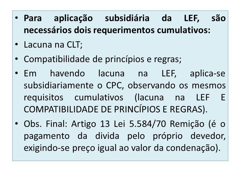 Para aplicação subsidiária da LEF, são necessários dois requerimentos cumulativos: