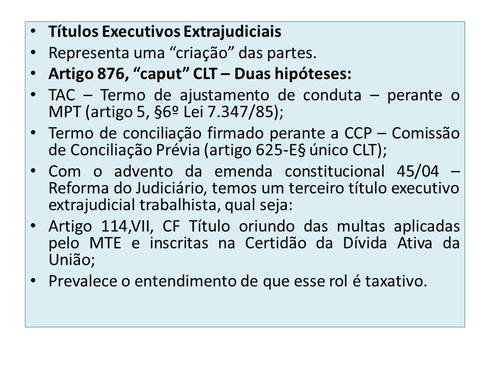 Títulos Executivos Extrajudiciais