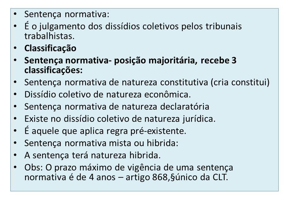 Sentença normativa: É o julgamento dos dissídios coletivos pelos tribunais trabalhistas. Classificação.