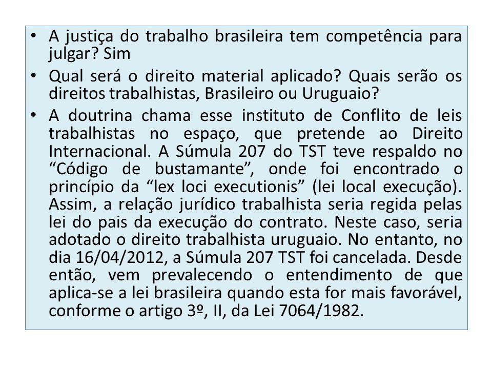 A justiça do trabalho brasileira tem competência para julgar Sim