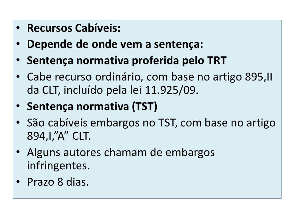 Recursos Cabíveis: Depende de onde vem a sentença: Sentença normativa proferida pelo TRT.