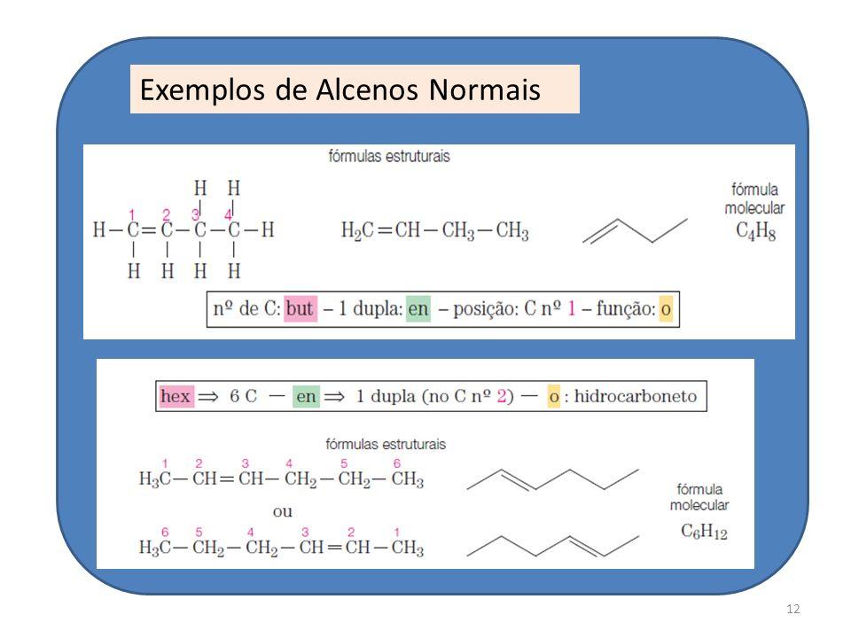 Exemplos de Alcenos Normais